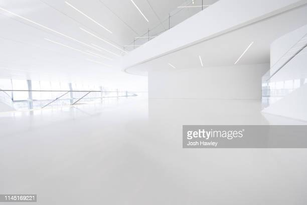 futuristic empty room, 3d rendering - empty room stock pictures, royalty-free photos & images