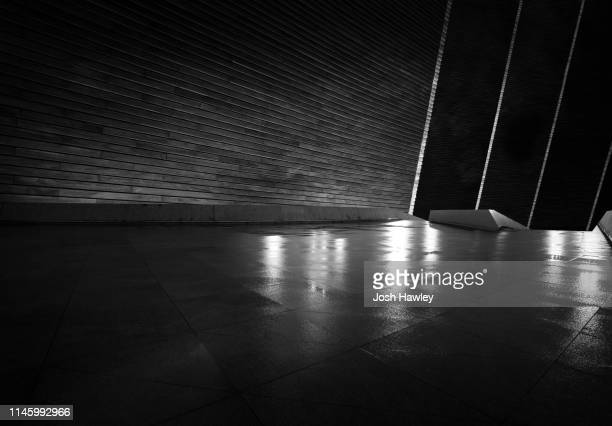 futuristic empty room, 3d rendering - wet stock pictures, royalty-free photos & images