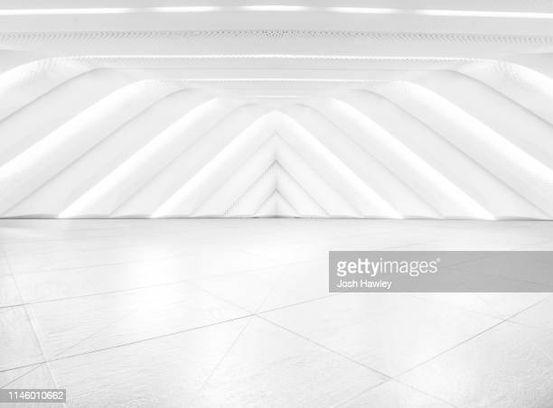 futuristic empty room, 3d rendering - domestic room stock pictures, royalty-free photos & images