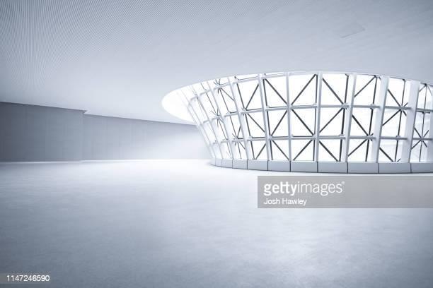 futuristic empty room, 3d rendering - 建造物 ストックフォトと画像