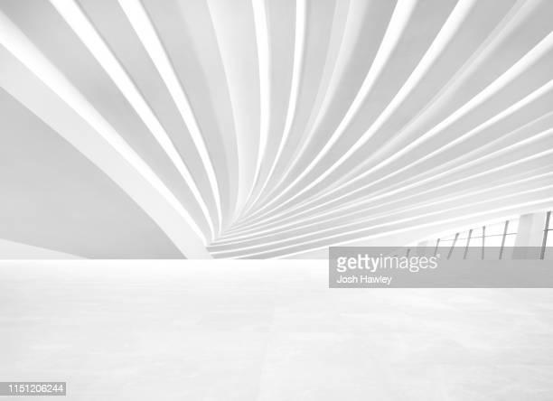futuristic empty room, 3d rendering - spärlichkeit stock-fotos und bilder