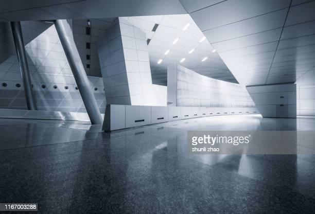 futuristic empty room, 3d rendering - 人気のない道路 ストックフォトと画像