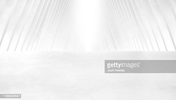 futuristic empty room, 3d rendering - weiß stock-fotos und bilder