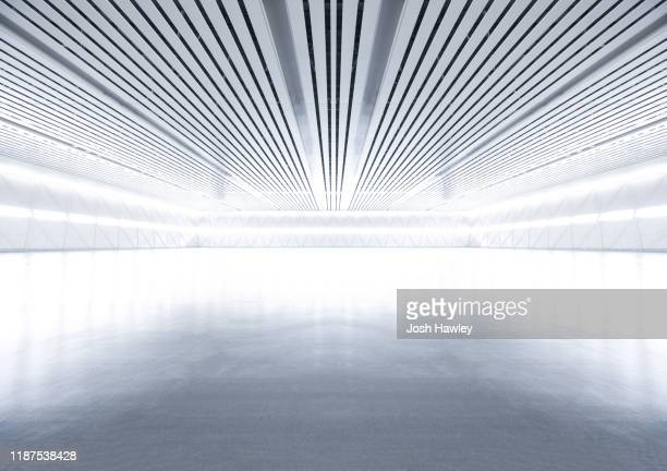 futuristic empty room, 3d rendering - copy space stock-fotos und bilder