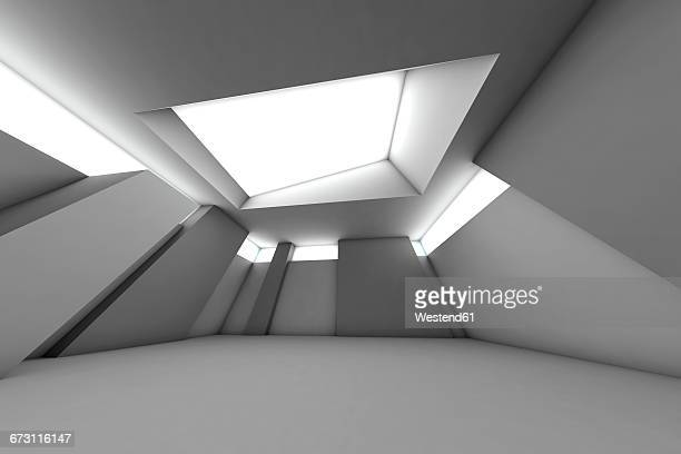 Futuristic empty room, 3D Rendering