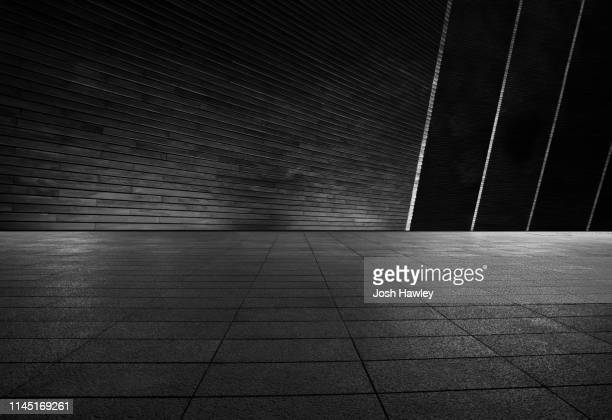 futuristic empty room - black colour stock pictures, royalty-free photos & images