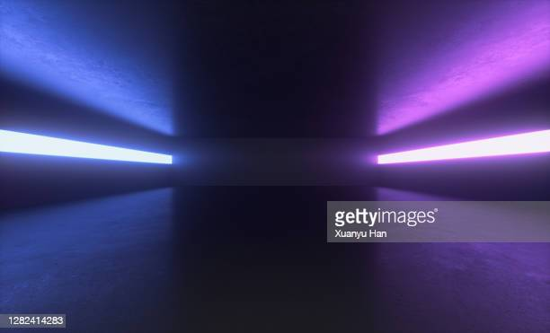 futuristic empty room - neon stock pictures, royalty-free photos & images