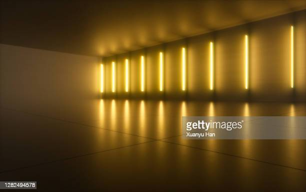 futuristic empty room - yellow stock pictures, royalty-free photos & images