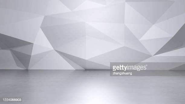 futuristic empty room,3d rendering - triangle shape stock pictures, royalty-free photos & images