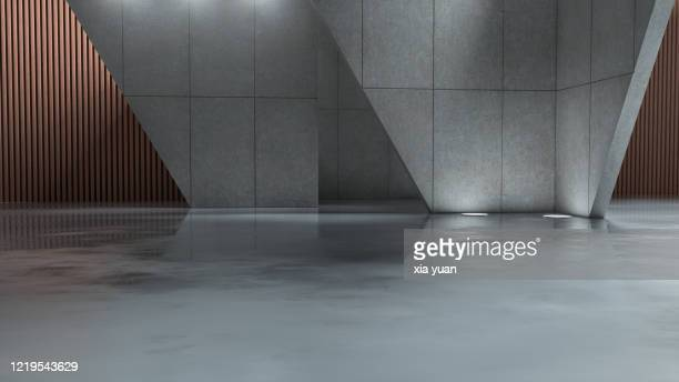 futuristic empty space background - empty garage stock pictures, royalty-free photos & images