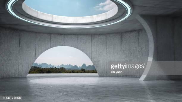 futuristic empty space with idyllic landscape - arco architettura foto e immagini stock