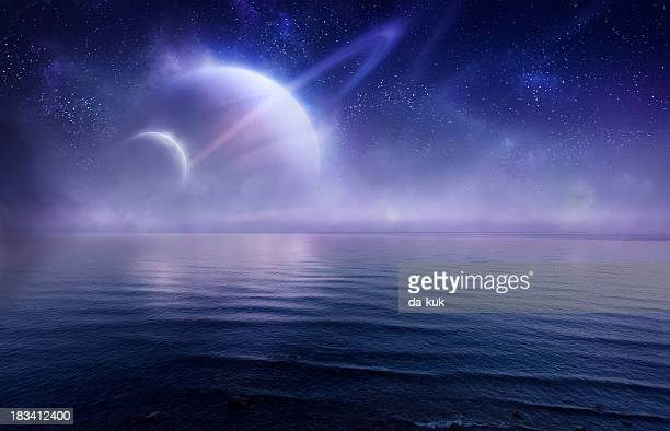 Futuristic evening seascape