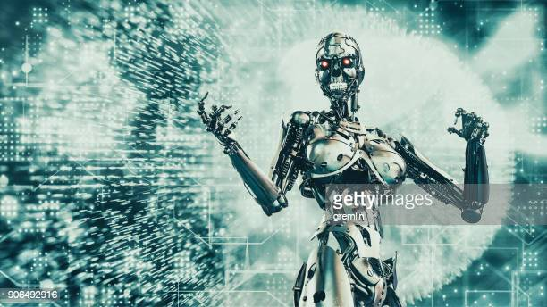 futuristic evil robot - evil stock photos and pictures
