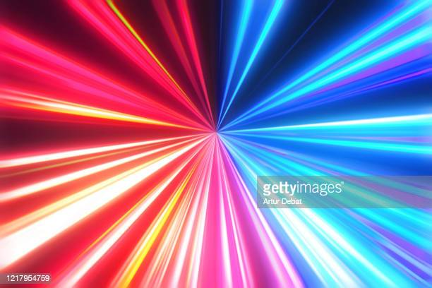 futuristic fast lights with red and blue colors in perfect vanishing point. - motion stock pictures, royalty-free photos & images