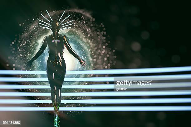 Futuristic female cyborg