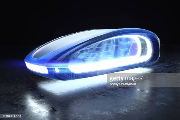 futuristic flying car - autonomous technology stock pictures, royalty-free photos & images