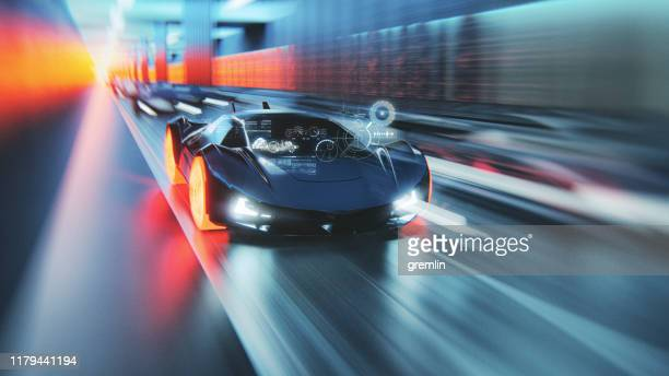 futuristic generic concept sport car speeding on city highway - motorsport stock pictures, royalty-free photos & images