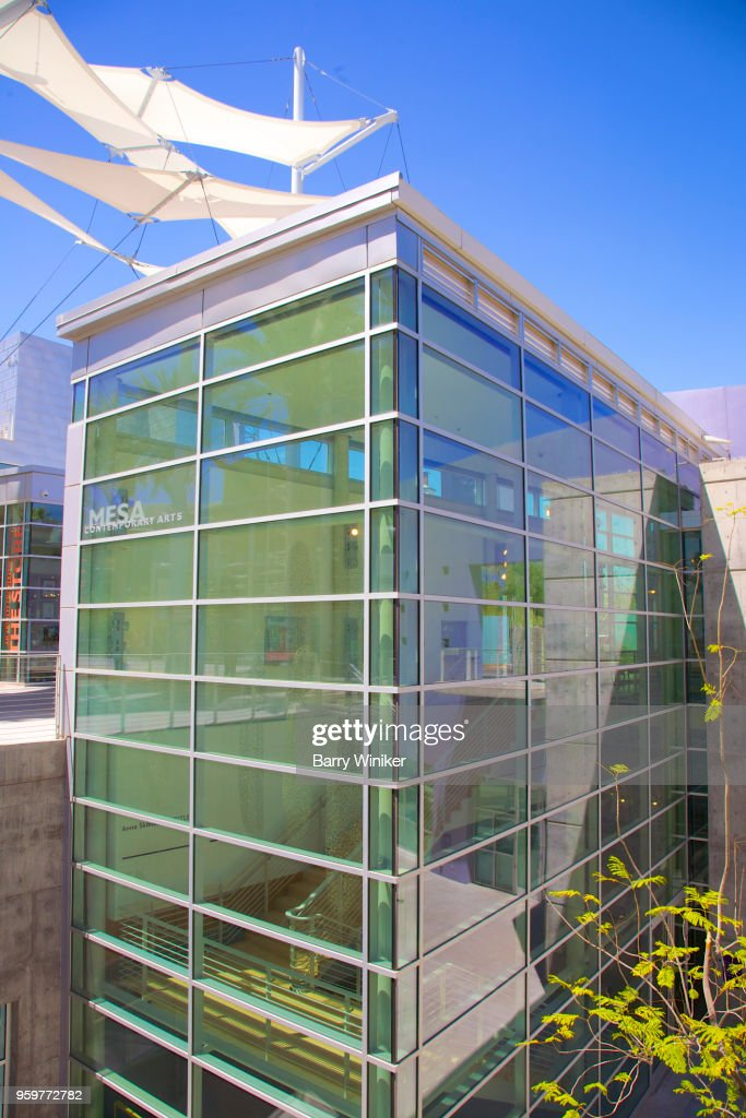 Futuristic glass and steel building of Mesa Contemporary Arts : Stock-Foto