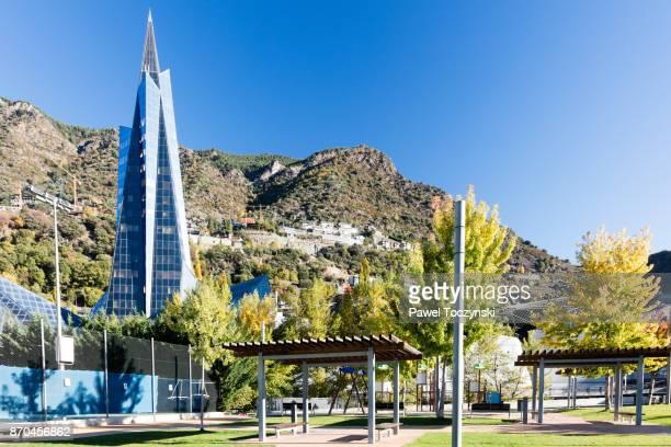 Futuristic glass building of Caldea Spa Complex, designed by Jean-Michel Ruols, built in 1994, Andorra