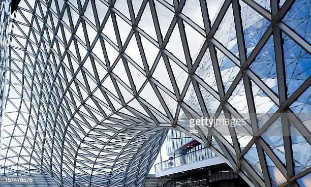 Futuristic glass roof construction