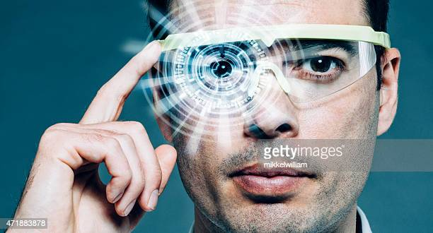futuristic glasses with heads-up display and augmented reality - hud graphical user interface stock photos and pictures