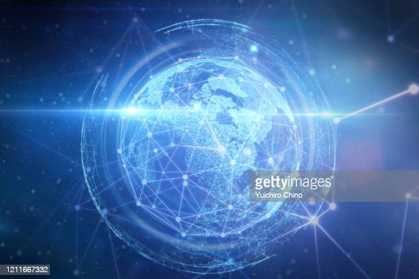 futuristic global communications and network - global stock-fotos und bilder