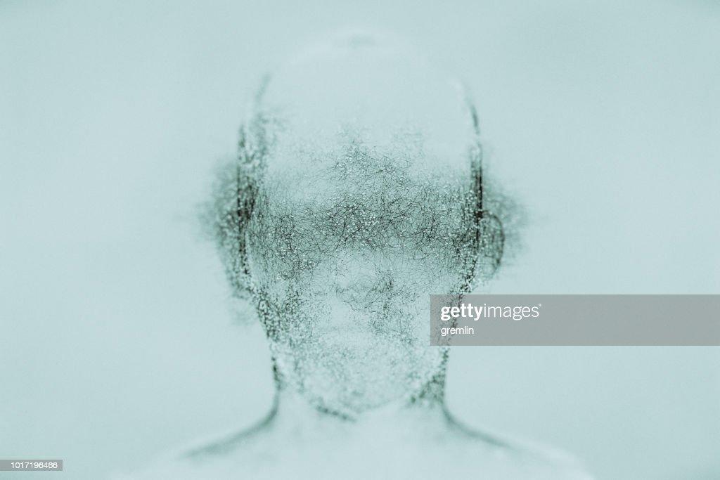 Futuristic glowing AI head : Stock Photo