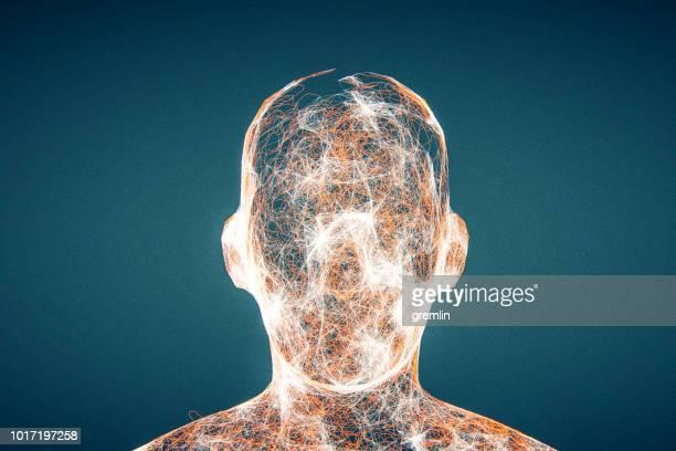 Futuristic glowing AI head