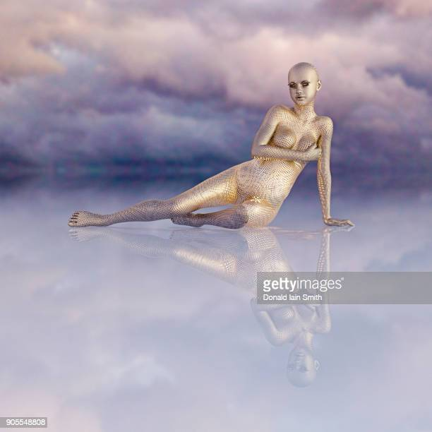Futuristic golden woman sitting in sky