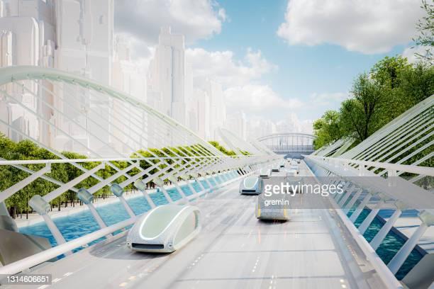 futuristic green energy autonomous traffic - autonomous technology stock pictures, royalty-free photos & images