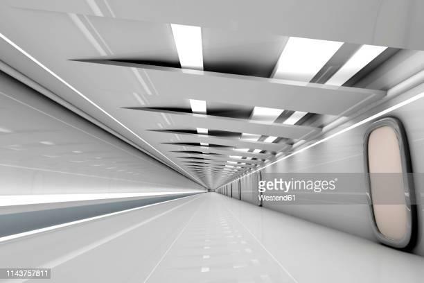 futuristic grey hallway, 3d rendering - 宇宙の乗りもの ストックフォトと画像