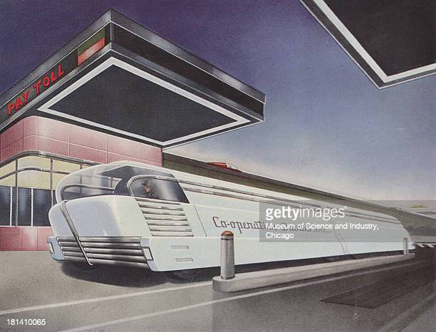 Futuristic illustration of a Bulk Milk Haulers going through a tollbooth describing how roughly 34 cities receive their milk via a milk truck which...