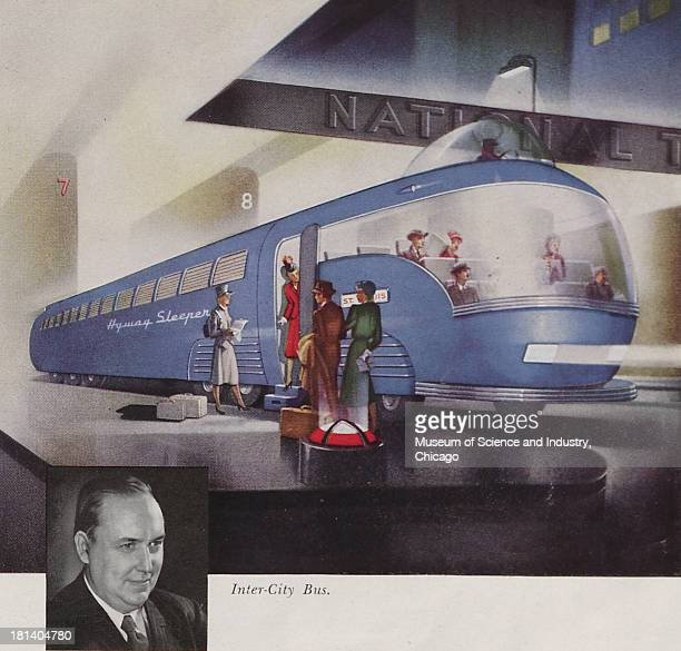 Futuristic illustration of a InterCity Bus which offers a relaxing swift and safe ride on a highway and has a roomy observation section in the front...