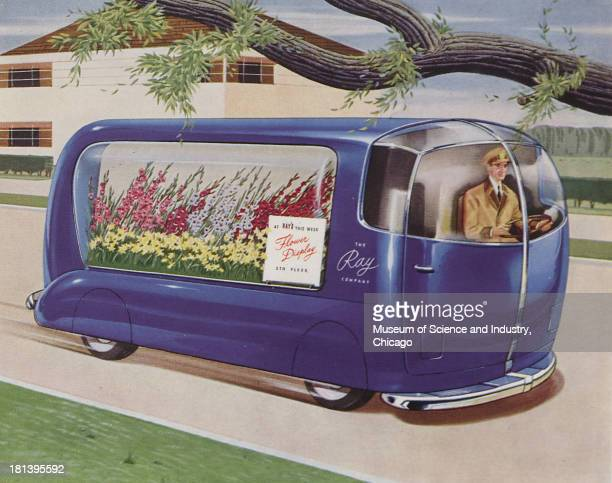 Futuristic illustration of a Light Delivery Truck showing a light delivery truck delivering flowers in a neighborhood which one of the qualities of...