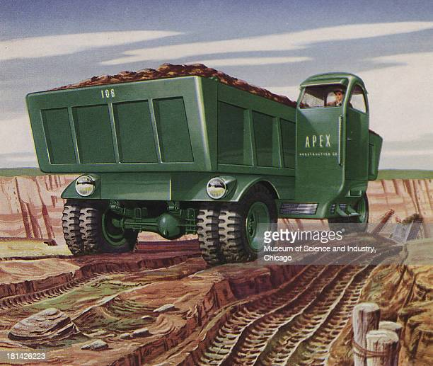 Futuristic illustration of a TwoWay Dump Truck showing an image of dump trunk carrying dirt in a dig sight with the cab on the side for visibility...