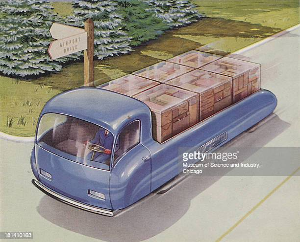 Futuristic illustration of an Airport Deliver Truck driving down a road named Airport Drive with load full of packages stating that distance in...