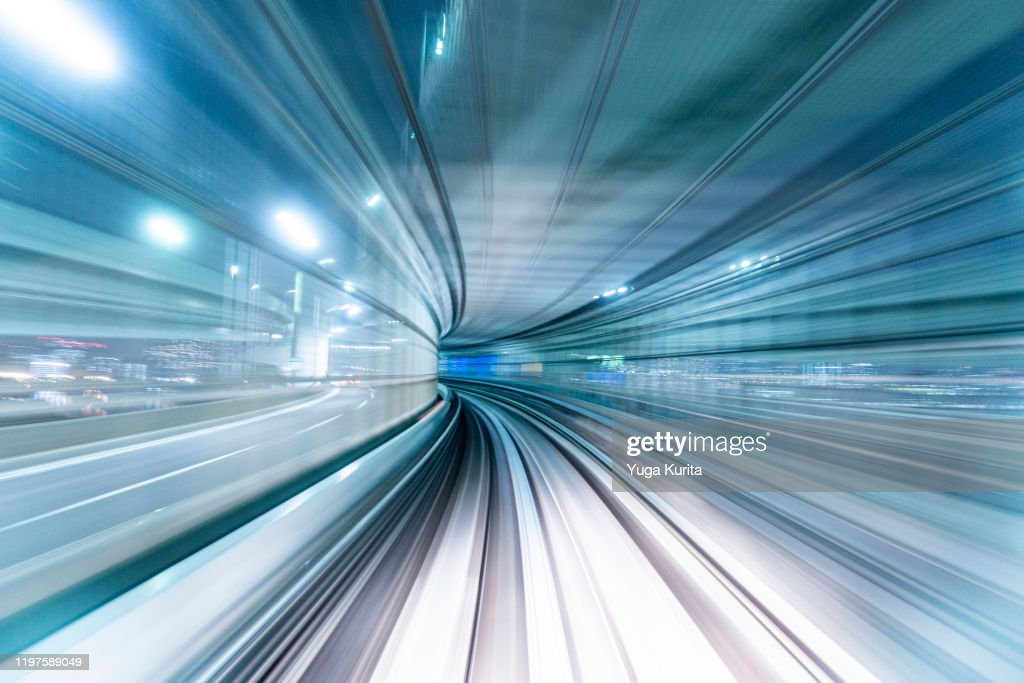 Futuristic POV Image of a High Speed Vehicle Moving Forward : ストックフォト