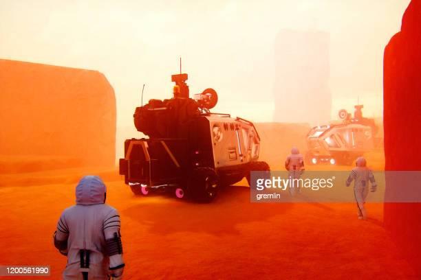 imagen futurista de marte terraforming - bruma de calor fotografías e imágenes de stock