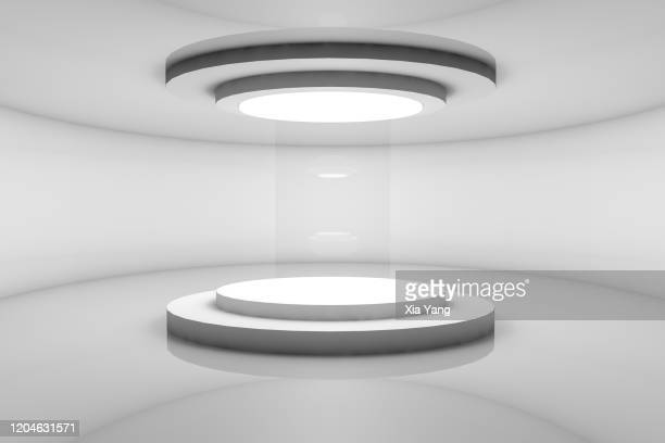 futuristic indoor design stage background - winners podium stock pictures, royalty-free photos & images