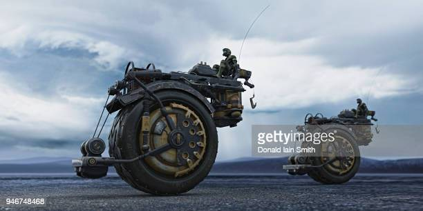 Futuristic industrial tractor vehicles with pilots in stormy landscape