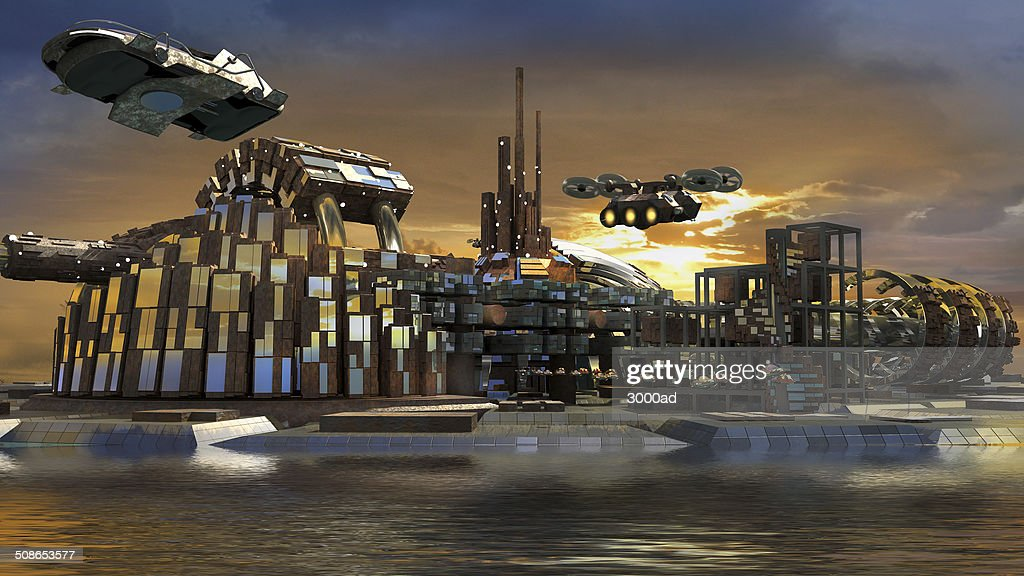 Futuristic island city with hoovering aircrafts : Stock Photo