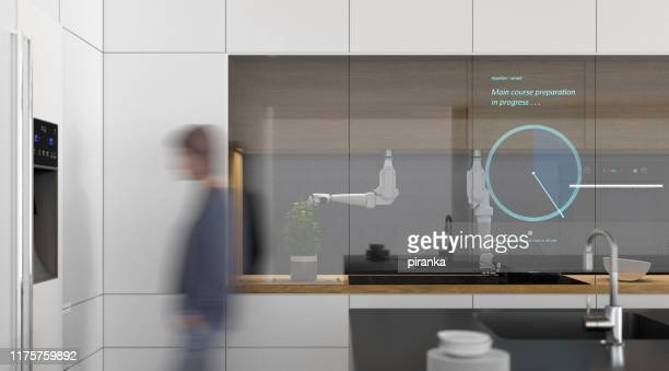 futuristic kitchen - clocks go forward stock pictures, royalty-free photos & images