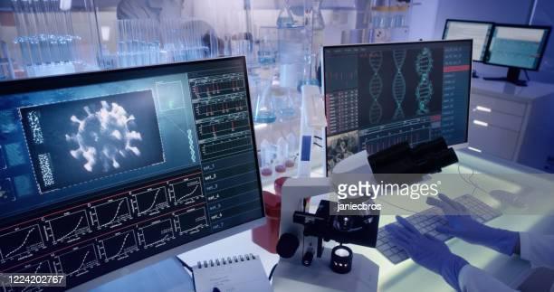 futuristic laboratory equipment - coronavirus testing - genetic mutation stock pictures, royalty-free photos & images