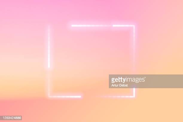 futuristic light spark glowing with square shape in the beautiful sunset sky. - carré composition photos et images de collection