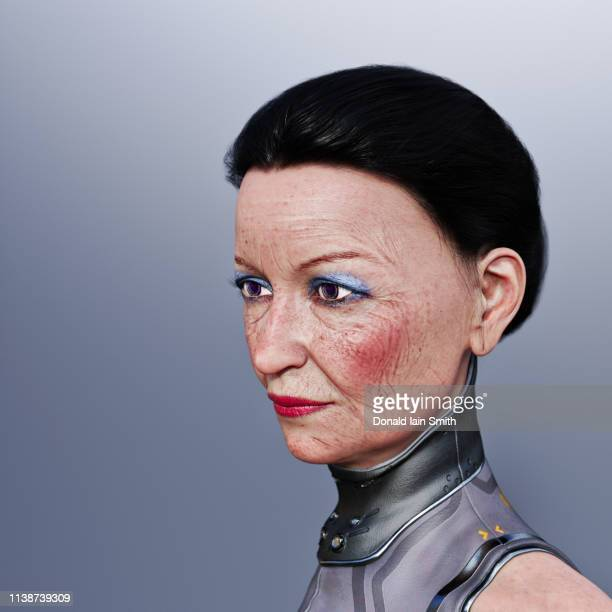 futuristic mature woman with replacement techno eyes - rosy cheeks stock pictures, royalty-free photos & images