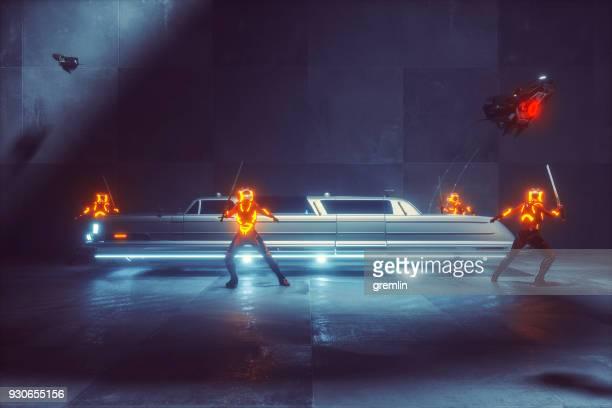 Futuristic mob limo with cyborgs protection