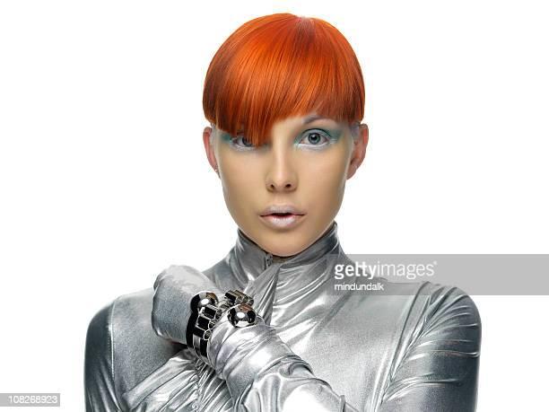 futurista modelo com cabelo vermelho - franja estilo de cabelo - fotografias e filmes do acervo