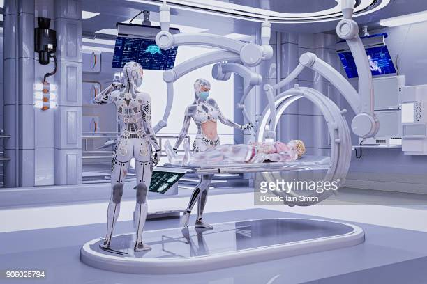 Futuristic nurses repairing cyborg