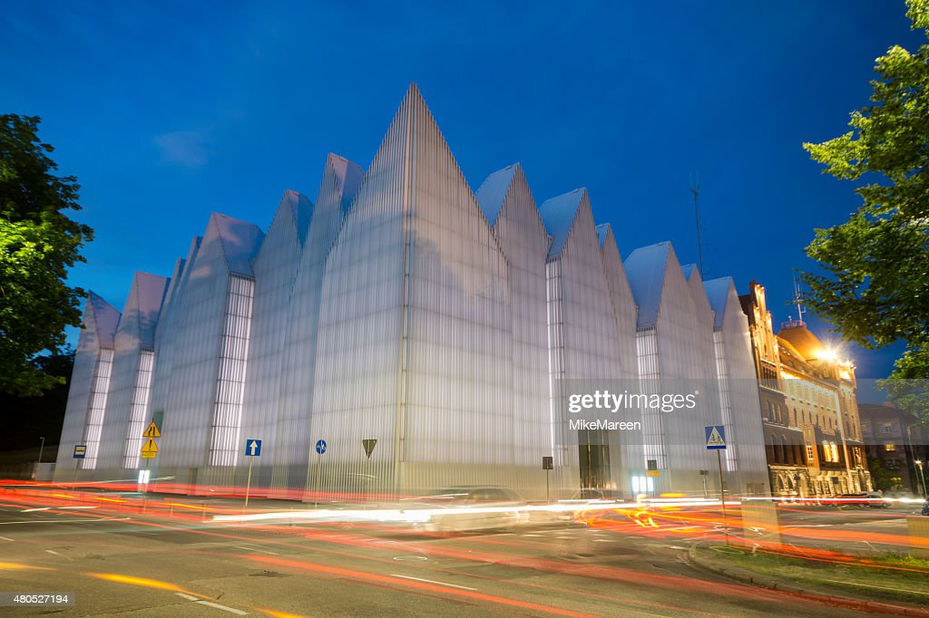 Futuristic office building in Szczecin Philharmonic : Stock Photo