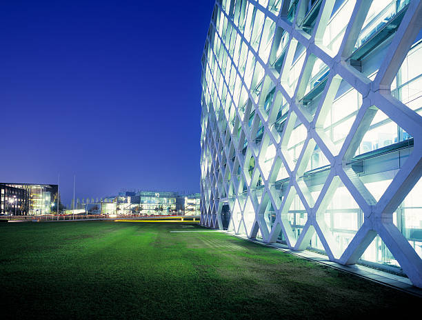 Futuristic Office Park At Night. Wall Art